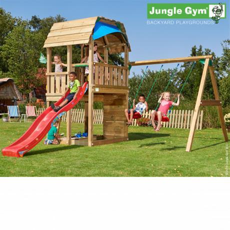 Jungle Gym Barn -leikkikeskus keinumoduulilla ja 120kg hiekkaa