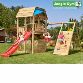 Jungle Gym Barn -leikkikeskus kiipeilymoduulilla ja 120kg hiekkaa
