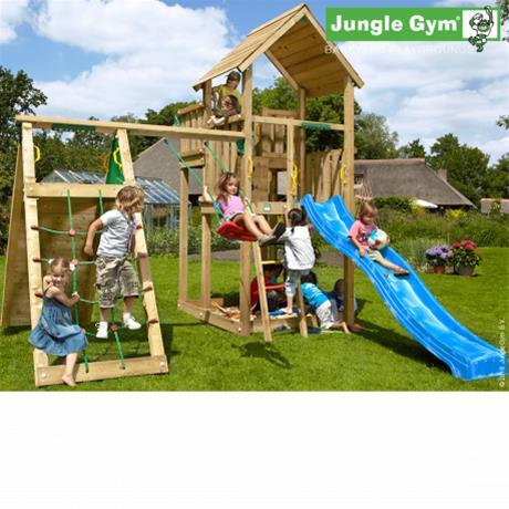 Jungle Gym Palace -leikkikeskus kiipeilymoduulilla ja 120kg hiekkaa