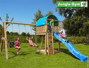 Jungle Gym Villa -leikkikeskus keinumoduulilla ja 120kg hiekkaa