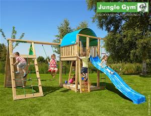 Jungle Gym Villa -leikkikeskus kiipeilymoduulilla ja 120kg hiekkaa