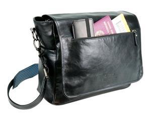 4v Design Simo Messenger Leather Bag Black