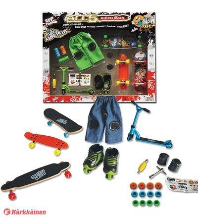 Grip&Tricks Finger Skate 5 Rider sormiskeitti sekä tarvikkeet