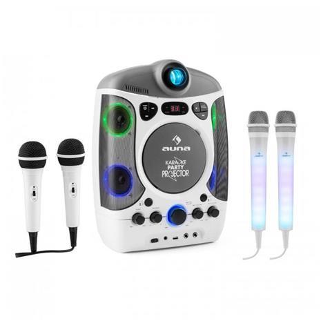 Kara Projectura weiss + Dazzl Mic Set - karaokesetti