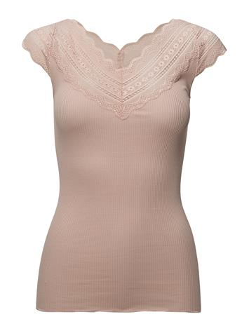 Rosemunde Silk T-Shirt Regular Ss W/Wide Lace CREAM TAN