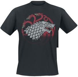 Game Of Thrones Stark And Targaryen Sigils T-paita musta