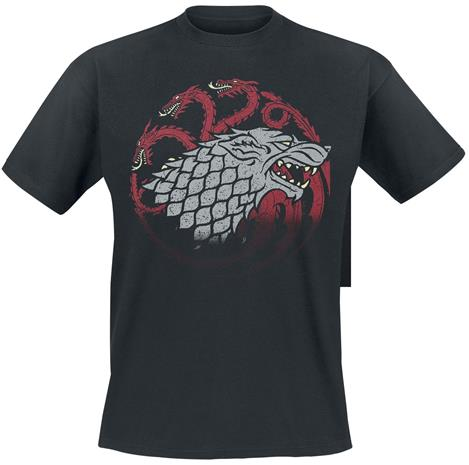 Game Of Thrones Stark And Targaryen Sigils T-paita musta