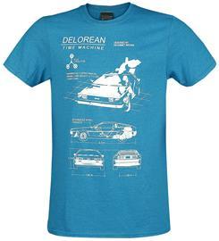 Back To The Future Delorean Time Machine T-paita sävytetty sininen