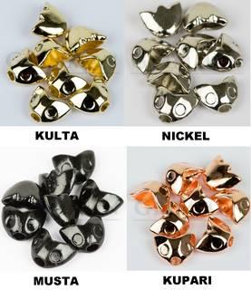 Grimman Sculpin Head (perhonpäät) 8kpl + 3D Eyes (silmät) 12 x 9mm Perhonpäät 8kpl + silmät, black