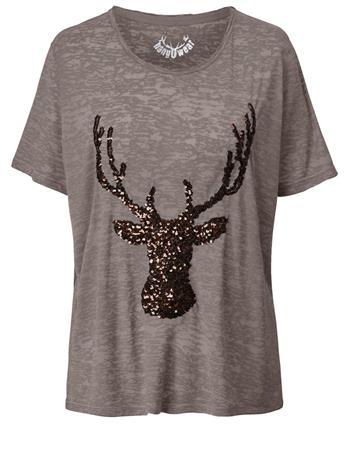 Paljettisomisteinen T-paita Hangowear harmaanruskea90654/10X