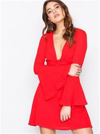 Missguided Tie Front Tea Dress Väljät juhlamekot Red