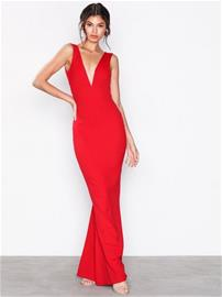 Missguided V-Neck Plunge Maxi Dress Maksimekot Red