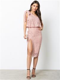 Missguided One Shoulder Lace Dress Kotelomekot Rose