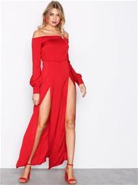 Missguided Bardot Satin Slip Maxi Dress Maksimekot Red