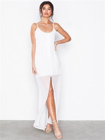 Missguided Button Down Maxi Dress Maksimekot White