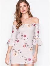 Missguided Bardot Frill Sleeve Mini Dress Skater-mekot Grey