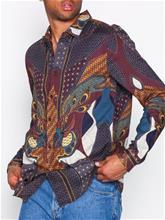 Topman Burgundy Baroque Long Sleeve Shirt Kauluspaidat Burgundy
