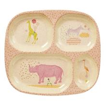 Kids 4 Room Bamboo Melamine Plate w. Girls Animal Print