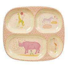 Kids 4 Room Bamboo Melamine Plate w. Girls Animal Print