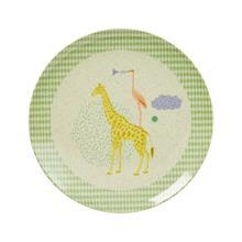 Kids Bamboo Melamine Lunch Plate w. Boys Animal Print