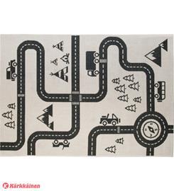 Traffic-liikennematto, 120 x 170 cm, musta-valkoinen