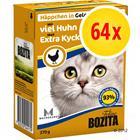 Bozita Chunks- säästöpakkaus: monta makua, 64 x 370 g - VII: kana & kalkkuna + lohi (Gravy)