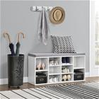 [en.casa]® Eleganttinen verhoiltu kenkäpenkki - 103 x 30 x 48 cm - valkoinen / harmaa - 10-lokeroinen