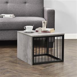 [en.casa]® Moderni sohvapöytä - yöpöytä - puu ja metalli design - betoni-vaikutus-45x45x35cm