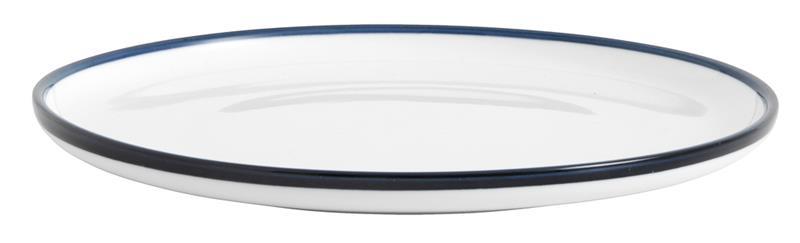 Assiett BLUE RIM Ø 20 cm - Vit/Blå, SmallSidePlate
