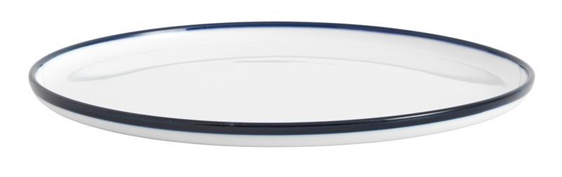 Tallrik BLUE RIM Ø 25 cm - Vit/Blå, Plates