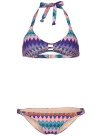 O'Neill Fancy Triangle Bikini blue aop w / pink or red Naiset