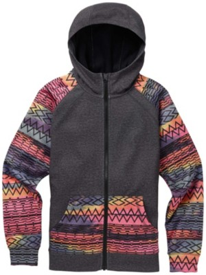 Burton Crown Bonded Zip Hoodie Girls true black heather / techni Tytöt