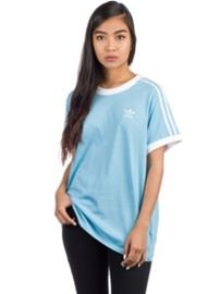 adidas Originals 3 Stripes T-Shirt clear blue Naiset