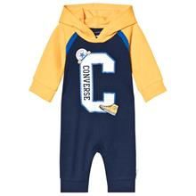 Navy & Yellow Branded Raglan Hooded Coverall0-3 months