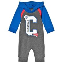 Grey & Blue Branded Raglan Hooded Coverall0-3 months