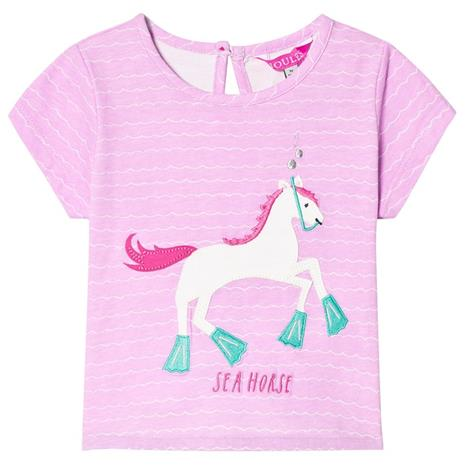 Neon Lilac Stripe Horse Applique Tee2 years