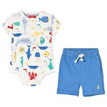 Baby Body och Blue Shorts Set Sea Time Print6-9 months