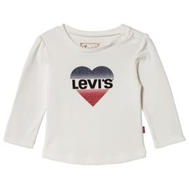White Glitter Logo Heart Long Sleeve Tee6 months