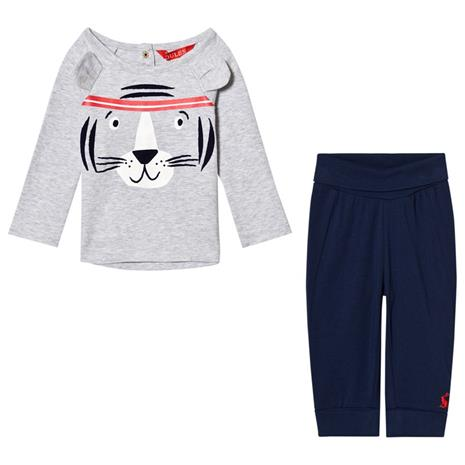 Grey Tiger Face with Ears Long Sleeve Tee and Navy Bottoms Set9-12 months
