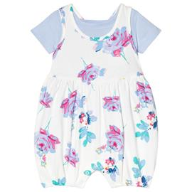 Floral Romper Suit and Blue Tee Set3-6 months