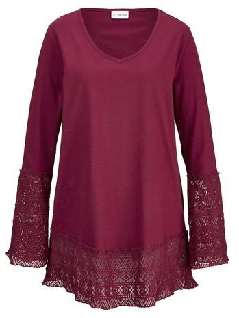 Pitkä pitsisomistettu paita MIAMODA Viininpunainen51792/60X