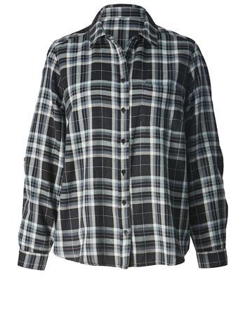 Ruudullinen paitapusero Angel of Style musta/valkoinen/sininen35887/50X