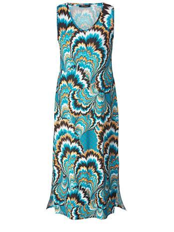 Kuvioitu pitkä mekko Sara Lindholm petroli/monivärinen37769/30X