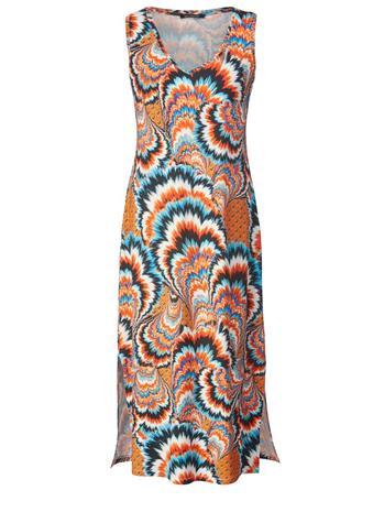 Kuvioitu pitkä mekko Sara Lindholm oranssi/monivärinen53783/30X