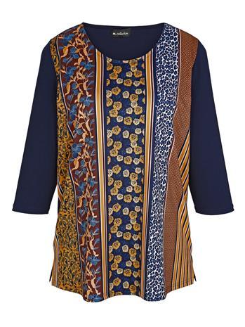 Etupuolelta kuviollinen paita m. collection laivastonsininen/curry37180/30X