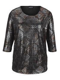 Kiiltäväpintainen paita m. collection musta/kullanvärinen44303/20X