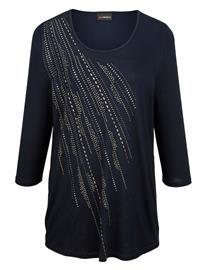 Pitkä niittikoristeltu paita MIAMODA yönsininen45952/50X