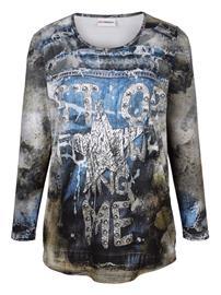 Farkkuprintillinen paita MIAMODA harmaa/khaki/farkunsininen49628/70X