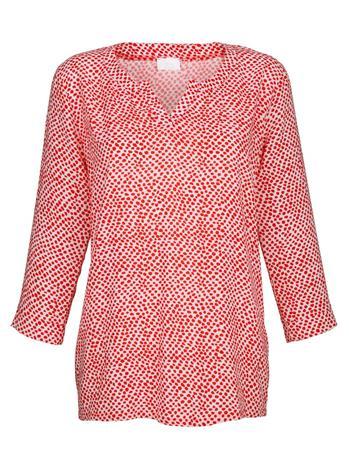 Pilkkukuvioitu paita Alba Moda valkoinen/koralli48273/30X