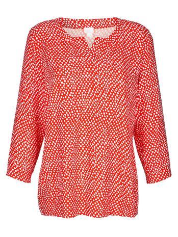 Pilkkukuvioitu paita Alba Moda koralli/valkoinen93989/80X